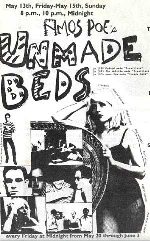 Squat movie flyer for Amos Poe's Unmade Beds
