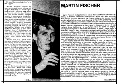 Martin Fischer obituary in the East Village Eye, April 1980
