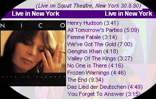 Nico song list at Squat Theatre concert