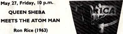 Ron Rice Queen Sheba Meets the Atom Man on a flyer for Squat Movie Program